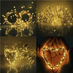 Chaîne de LED de puissance solaire 50 voyants LED de cuivre chaîne étoilé de lumière pour la décoration d'accueil magasin de l'arbre