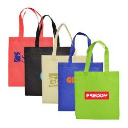 Comercio al por mayor de promoción personalizada Eco friendly tejido reciclado logotipo impreso Tote bolsas reutilizables de plegado de la marca de prendas de vestir PP Non-Woven Bolsa de compras