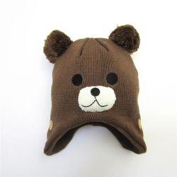100% acrilico Knit divertente Cartoon animale modello bambini caldo Comodo berretto con paraspruzzi