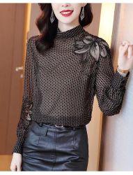 2020人の女性の方法Waveletの点の衣類の網によってアイロンをかけられるドリルの長袖のワイシャツ
