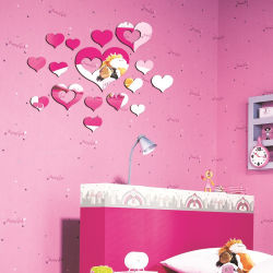 Decoratie van het Huis van de Stickers van de Muur van het Effect van de Spiegel DIY van het Kristal van het Decor van de Gift van het Huwelijk van de Perzik van de Harten van de liefde de Weerspiegelende 3D