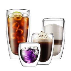 Xícara de café expresso de vidro de dupla parede resistente ao calor chávena de café xícara de café em vidro borossilicato