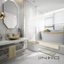 300X600, 400x800mm estilo moderno Carrara banho brancas de ladrilhos em paredes e pisos de cerâmica