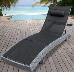 Spiaggia d'acciaio Laybed del rattan di svago con il tessuto di Teaslin per il salotto di Sun esterno