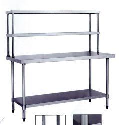 Kundenspezifischer Größen-HandelsEdelstahl-Werktisch mit doppelten Regalen