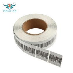RF EAS con papel de etiqueta de color blanco y negro y código de barras