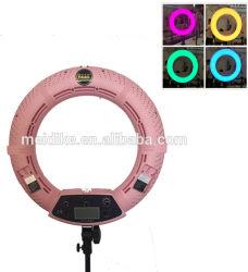 """Foshan Yidoblo FC-480 luz circular LED mudará de cor RGB APP controlar 18""""Luz de intensidade regulável 48W 2800K-10000K Live Selfie compõem a lâmpada anelar"""