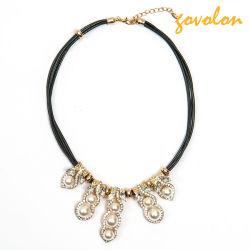 Мода ожерелье с Rhinestone строки из натуральной кожи и имитация жемчуг