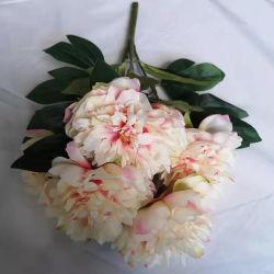 Venda por grosso de fábrica 5 Chefes de flores de Casamento Flores artificiais de Seda Peony