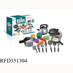 FruitおよびVegetablesの18 PCS Kitchen Toy Cookware Cooking Set