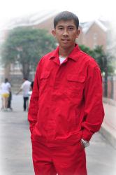 Indumenti da lavoro urbani, in generale rosso, tuta degli uomini, vestiti da lavoro