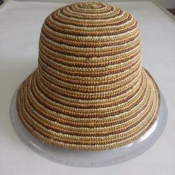 Cappello di paglia tessuto Cloche caldo della rafia della striscia di colore di vendita di modo