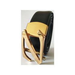 Chapado en oro Z palabras auto de lujo en cuero negro Hebilla de cinturón de hombre