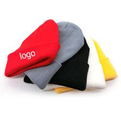 겨울 주문 로고 자수를 가진 평야에 의하여 뜨개질을 하는 베레모 모자