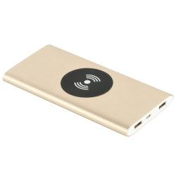 Hot vendre chargeur portatif sans fil de charge sans fil bloc-batterie 8000mAh haute capacité de charge rapide Slim double sortie USB aluminium pour les téléphones mobiles