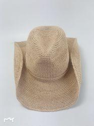 100%のビードのトリムのカーボーイ・ハットが付いている自然なかぎ針編みのRaffiaのわら