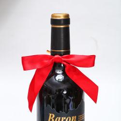 """Fornecedor de fabricação de embalagens de Fita de cetim Bow 1/8"""" 16 mm Fita Vermelha arco com garrafa de vinho"""