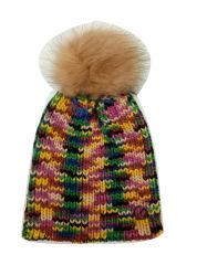 擬似毛皮のポンポンが付いている女性Winter Warm Fashion Knittingスペース染料の帽子の帽子