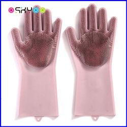 Cocina Baño Pet Food Grade de trabajo guantes de goma de silicona lavavajillas