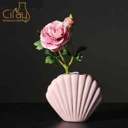 아름다운 핑크 컬러 쉘 포르첼랭 베아제(Pink Color Shell Porcelain Vase)로 홈 장식을 했습니다