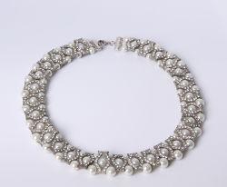 Joyas de moda collar con perlas y encantos con rhinestones