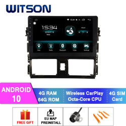 Video dell'automobile del Android 10 di Witson audio per schermo istantaneo 2014-2016 di RAM 64GB di Toyota Vios 4GB il grande in lettore DVD dell'automobile