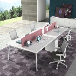 フォーシャンの商業家具の引出しが付いている簡単な鉄骨フレームの簡潔で容易な付属品4のシートの事務机