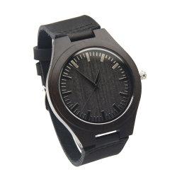 工場卸し売りメンズウォッチの黒の革腕時計の方法余暇様式の黒檀の木製の腕時計