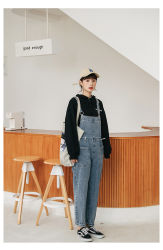 Au printemps 2020 Nouveau Korean Style jeans taille haute 100% coton Denim Pantalon bib