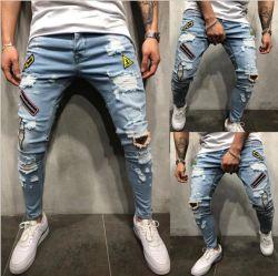 Calças de ganga lavada personalizado homens Slim Fit Jeans Denim Skinny Denim Jeans