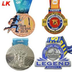 Precio de regalo de promoción de la fábrica de proveedor mayorista de Artesanía de metal de fundición de aleación de zinc diseños personalizados Maratón de oro en marcha la carrera de acabado Sport medallas de Premio de China hizo