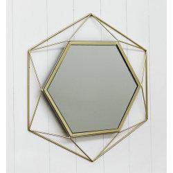六角ワイヤーミラー 44X50.5X3cm 金属壁ミラー、壁ミラー、家装飾の技術、家装飾、家装飾、金属芸術、金属装飾、壁芸術、壁の装飾