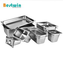 Todos los tamaños de almacenamiento de alimentos de acero inoxidable mesa de vapor de contenedores Gastronorm Gn Pan Pan con Anti-Jam