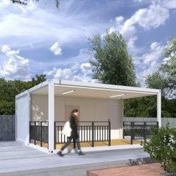 Plage de contener modulaire de verre au café de l'entrepôt de minuscules maisons modulaires Maisons préfabriquées