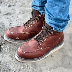Scarpe di sicurezza Genuine Leather Welted Goodyear Produttore senza punta in acciaio, Oil & Heat Resistant ASTM Scarpe di sicurezza da lavoro industriali per uomo e donna