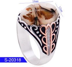 Imitação belas jóias 925 Prata Anéis de Dedo Islâmica para homens com pedra Ágata Natural