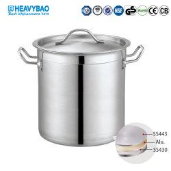 Heavybao Hot Sale High Body roestvrij stalen Sandwich Base Soup Pot