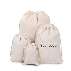 カスタム青い綿のドローストリング袋印刷されたストリングギフトの袋のキャリア