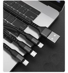 2021 البيع الساخن 1.2م الطول 3in1 واجهات متعددة 2A خرج كبل سلك شحن USB