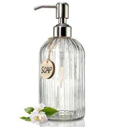 펌프가 있는 투명 유리 비누 디스펜서, 수손 비누, 비누, 로션을 위한 욕실 비누 디스펜서