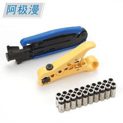 Insieme dell'estrattore del cavo di RG6 Rg11 e di strumento di piegatura di compressione