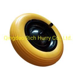 鋼鉄縁が付いている15inch 3.50-8 PUの固体車輪および手押し車のための軸線