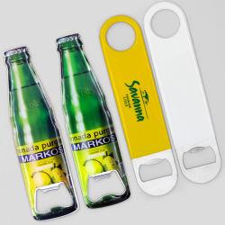 Promoción barata Logotipo personalizado por sublimación de la impresión de recuerdo de marca a granel de la barra de metal blanco de la tarjeta de acero inoxidable abridor de botellas de cerveza para regalo de promoción
