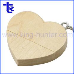 Azionamento di legno dell'istantaneo del USB del miele di figura del cuore per il regalo promozionale