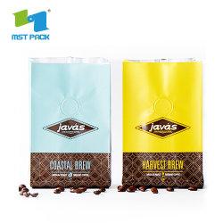 China Supplier Custom Print Flat Bottom Food Grade 500 g 1 kg Verpackung Aluminiumfolie Ziplock Custom Label Matt Black Coffee Bag