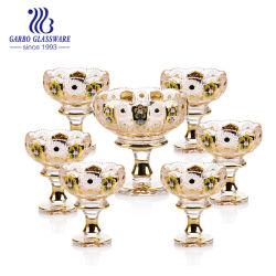 7PCS كأس جولدن فواكه باول كأس، حامل كعكة، خدمة بلاتر مع لوحة زجاجية مستديرة و قاعدة معدنية الذهب قداس ديسرت