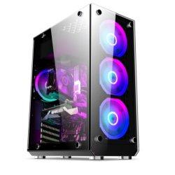流れるRGB Bletの賭博のパソコンのキャビネットのアルミニウムパネルのガラスサイドボードデスクトップATXのパソコンの賭博のケース