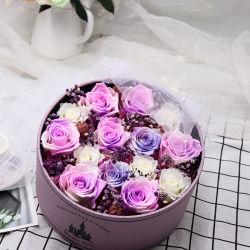 Geschenk-magisches Schloss der neue Art-besten Valentinsgrüße Tageskonservierte Rose-Blume im runden Geschenk-Kasten für Ihre Liebe
