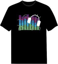 2020 mode Custom Design Affichage activé par le son musique EL Light T-shirt LED clignotant lumineux pour Noël
