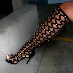 Sapatas das mulheres Diamonds Lady Calçados Fashion Joker Senhoras Sapatos Salto Alto Sandálias botas